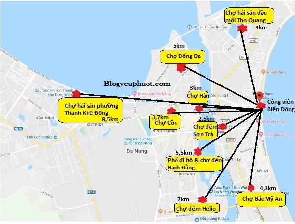 Bản đồ du lịch Đà Nẵng về địa điểm mua sắm chi tiết. Bản đồ các địa điểm mua sắm nổi tiếng ở Đà Nẵng