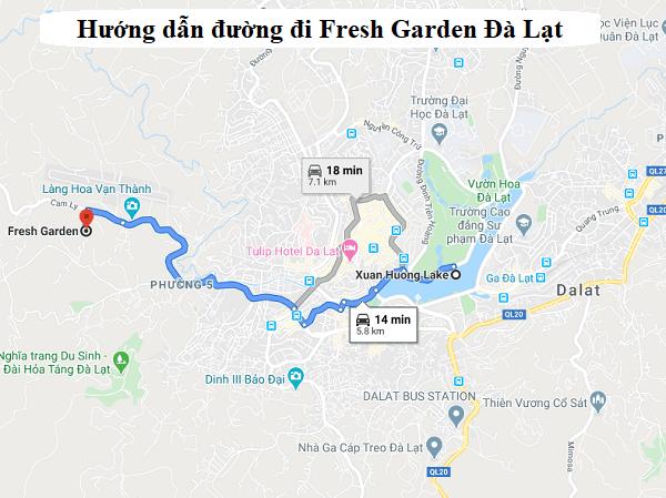 Hướng dẫn đường đi Fresh Garden Đà Lạt. Cách di chuyển tới Fresh Garden Đà Lạt