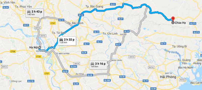 Cách di chuyển tới Tây Yên Tử, Bắc Giang